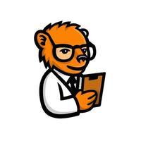 urso nerd mascote cientista vetor