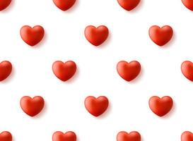 padrão sem emenda com coração 3d realista. feliz dia dos namorados dia realista 3d coração padrão sem emenda. fundo vermelho amor, textura de repetição de romance. papel de parede. vetor