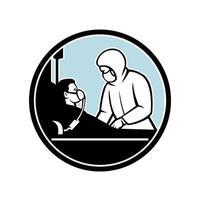 médico tratando paciente infeccioso círculo retro vetor