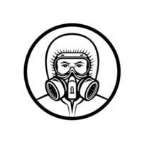 profissional médico usando mascote rpe vetor