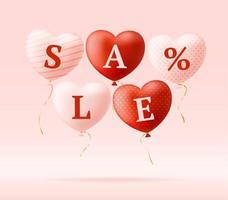 amo a palavra e venda em corações realistas. cartão de dia dos namorados com corações rosa e vermelhos e letras de amor. conceito de venda ou desconto de ilustração vetorial