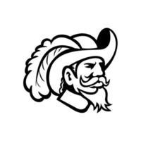 cabeça de um cavaleiro ou mosqueteiro visto do lado mascote preto e branco