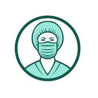 enfermeira usando ícone de máscara cirúrgica