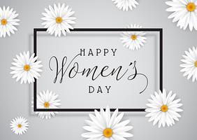 Fundo de dia das mulheres com margaridas vetor