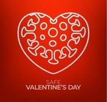conceito de dia dos namorados seguro. dia dos namorados vermelho amor coração e perigo biológico de quarentena. coronavírus covid e coração de amor. ilustração vetorial vetor
