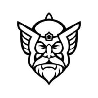 cabeça de Thor norse god vista frontal mascote preto e branco