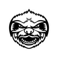 cabeça da preguiça zangada, mascote de vista frontal retrô preto e branco vetor