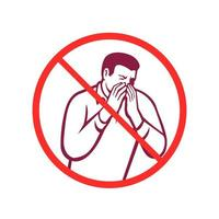 espirrando ou tossindo na mão ícone círculo retrô vetor