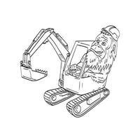 sasquatch ou bigfoot usando capacete de segurança dirigindo uma escavadeira mecânica ilustração de desenho de linha vetor