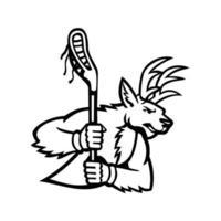 cervo vermelho veado ou cervo empunhando um bastão de lacrosse, mascote com vista lateral preto e branco