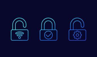 ícones de vetor de linha de fechadura inteligente