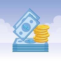 moedas e notas ícones de dólares de dinheiro vetor