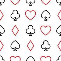 sem costura de fundo de ternos de pôquer - corações, tacos, espadas e diamantes - dispostos nas linhas no fundo branco. ilustração em vetor tema jogo de casino.