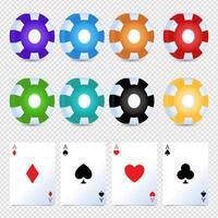 casino chips coloridos apostando cartão simples conjunto de vetores. espadas, copas, phillips, diamantes. vetor