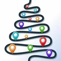 cartão de natal com a estrada em forma de árvore de natal e ponteiro de localização no mapa colorido vetor