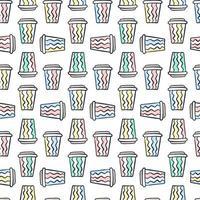 padrão de xícara de café. padrão sem emenda de vetor com várias xícaras de café descartáveis para viagem. fundo de doodle desenhado à mão