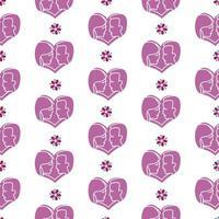 silhueta casal amor e padrão floral