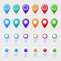 mega conjunto de pinos de localização. marcador 3d. vetor de pino de ponteiro de mapa conjunto isolado. ponto de localização da Web, marca de seta do ponteiro 3d.