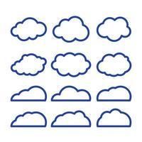 ícone de vetor arte linha de nuvens. elemento de solução de armazenamento, bancos de dados, rede, imagem de software, conceito de nuvem e meteorologia. ilustração em vetor linha arte isolada no fundo branco