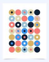 capa de design gráfico retro de vetor ou cartaz com formas de ponto de círculo. composições de formas vintage legais. disco de vinil abstrato de música