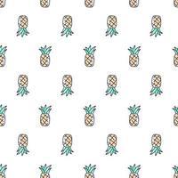 tropical fofo mão desenhada doodle padrão sem emenda de abacaxi. crianças têxteis padrão fundo branco