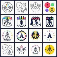 hora de orar conjunto de logotipo de vetor. coleção de ícone de mãos em oração com relógio ou calendário