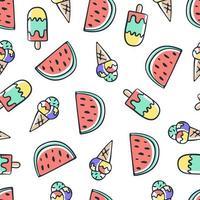 mão desenhar doodle sorvete e melancia padrão sem emenda. desenho de fundo de verão vetor