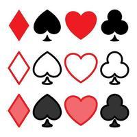 conjunto de ícones de pôquer. coração, espada, clube e diamante. ícones de naipe de baralho em estilo minimalista geométrico moderno. conjunto de símbolos de cartas vetoriais vetor