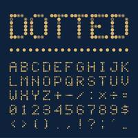 fonte pontilhada de vetor, alfabeto. estilo retro ou pop fonte pontilhada geométrica colorida, ilustração do alfabeto vetor