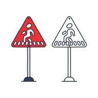 Sinal de alerta de passagem para pedestres, sinal de triângulo vermelho com símbolo de faixa de pedestres, ilustração vetorial.