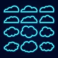 Conjunto de ícones de nuvem de néon de vetor, brilhantes linhas azuis em fundo escuro