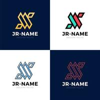 conjunto de inspirações de logotipo de monograma de jr, modelo de logotipo de letras de vetor. designs limpos e criativos vetor