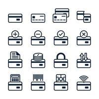 conjunto de cartão de crédito em estilo moderno. símbolos bancários de contorno preto de alta qualidade para design de sites e aplicativos móveis. pictogramas de cartão de crédito simples em um fundo branco. vetor