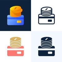 pilha de moedas com um conjunto de ícones de estoque de vetor de cartão de crédito. o conceito de adicionar dinheiro a uma conta bancária. o verso do cartão com uma pilha de moedas.
