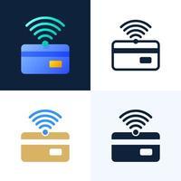 NFC pagamento e conjunto de ícones de estoque de vetor de cartão de crédito. o conceito de pagamentos sem contato no setor bancário. ícone de wifi e cartão de crédito.