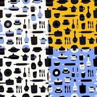padrão sem emenda de cozinha de itens decorativos de talheres. utensílios de cerâmica ou louças - xícaras, pratos, tigelas, jarras. ilustração vetorial em estilo simples com textura colorida. vetor