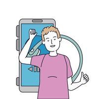jovem com fones de ouvido e smartphone vetor