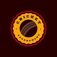 tipografia profissional moderna críquete esporte super herói estilo emblema vetorial e modelo de design de logotipo com bola. Saudações engraçadas para roupas, cartão, crachá, ícone, cartão postal, banner, etiqueta, adesivos, impressão. vetor