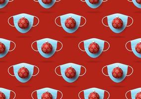 padrão sem emenda de Natal de máscaras médicas e bola de Natal em fundo vermelho. proteção contra vírus e conceito de feliz Natal. vetor de natal 2020 e coronavírus covid-19 durante a pandemia