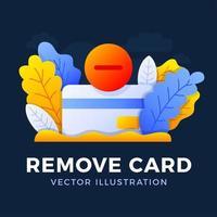 remova a ilustração do estoque do vetor do cartão de crédito isolada em um fundo escuro. conceito de fechamento de conta bancária. rescisão do contrato. removendo um cartão de crédito do banco.