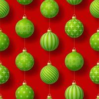 padrão sem emenda de Natal realista com motivos geométricos. bola de bugiganga verde em ilustração vetorial de padrão de ano novo simples de fundo vermelho vetor