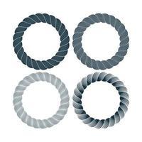 conjunto de vetores de quadro redondo preto corda monocromática. coleção de círculos grossos e finos isolados no fundo branco, consistindo de cabo trançado. para decoração e design em estilo marinho.