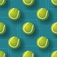 ilustração em vetor pettern sem emenda de bola de tênis. design realista de padrão sem emenda de bola de tênis