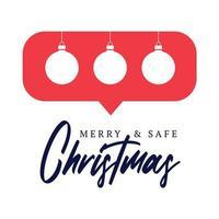 cartão ou panfleto bola de Natal como contador, seguidor de comentário e ilustração em vetor símbolo notificação isolada no fundo branco.
