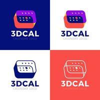 calendário 3d abstrato com marcas um dia. logotipo colorido do calendário 3D com grade de dias