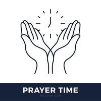 hora de orar o logotipo do vetor. orando ícone de mãos com relógio.