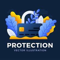 cadeado com ilustração das ações do vetor do cartão de crédito isolada em um fundo escuro. o conceito de proteção, segurança e confiabilidade de uma conta bancária. lado frontal do cartão com um cadeado fechado.