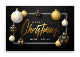 banner de Natal feliz e seguro. ilustração vetorial com três bola de árvore de Natal realista de cor dourada, preto e branco e texto de letras. feriados devido coronavírus