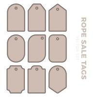 conjunto de etiquetas de etiqueta de presente em branco para preços de venda com contorno de corda. adesivos de moldura de corda em diferentes formas redondas, quadradas ou retangulares vetor