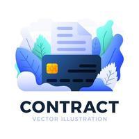 documento bancário com ilustração das ações do vetor do cartão de crédito isolada em um fundo branco. o conceito de celebração de um contrato bancário. lado frontal do cartão com documento de texto.